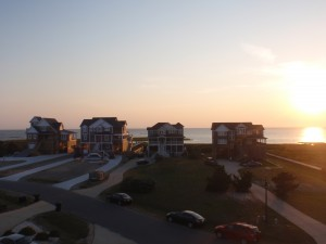 The exquisite sunset over Pamlico Sound, Waves (Outer Banks) NC